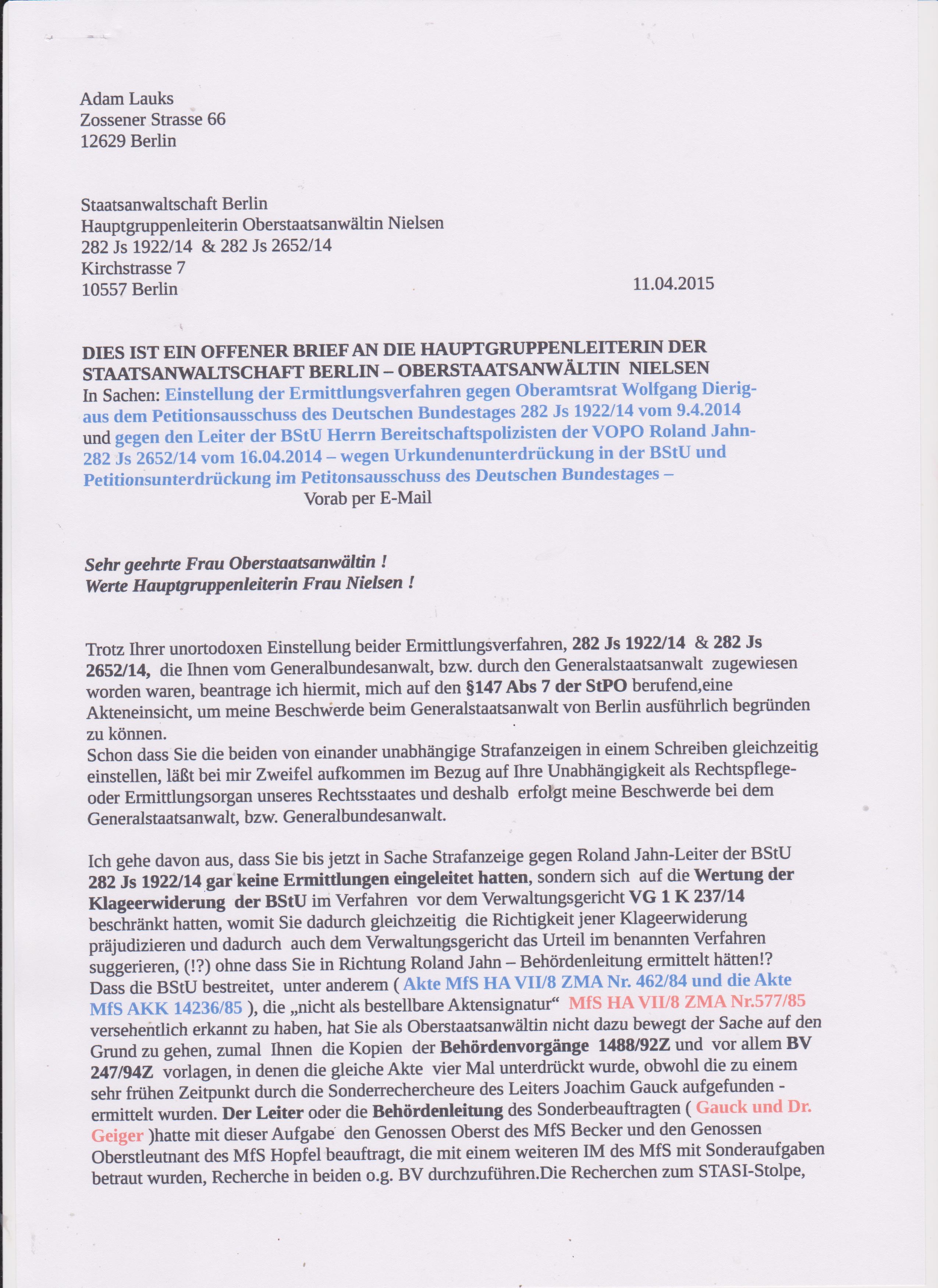Antwortschreiben-Beschwerde StA Wißmann-Koch 001 | AdamLauks Blog