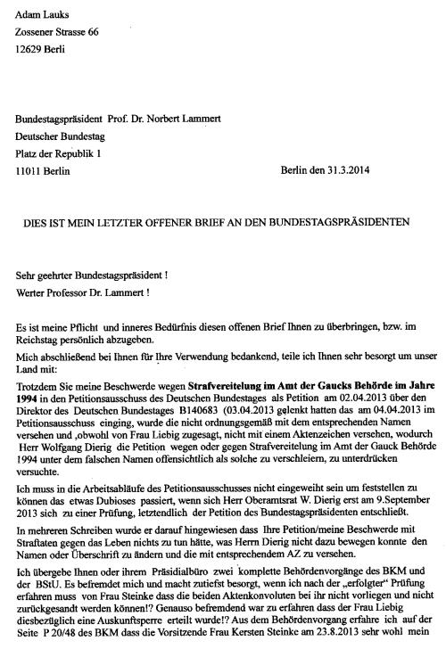 """Persönlich  übergeben dem Leiter des Präsidialbüros im Reichstag: """" Es ist meine Pflicht und inneres Bedürfnis diesen offenen Brief Ihnen zu überbringen, bzw. Im Reichstag persönlich zu übergeben."""""""