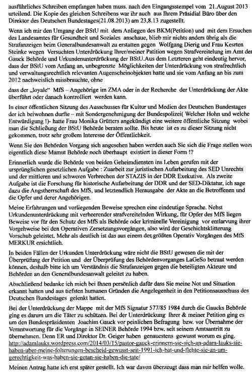 In mehreren Schreiben wurde er darauf hingewiesen, dass Ihre Petition/meine Beschwerde mit Straftaten gegen das Leben nichts zu tun hätte, was Herrn Oberamtsrat W. Dierig nicht dazu bewegen konnte, den Namen oder Überschrift zu ändern und die Petition mit entsprechendem AZ zu versehen- sie aktenkundig zu machen !??