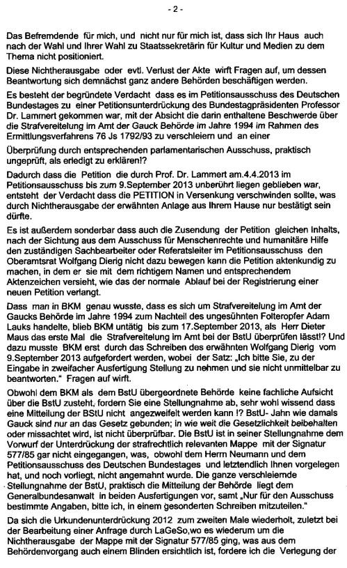 Die Petition des Bundestagspräsidenten Lammert  und des Ausschusses f. Menschenrechre und humanitäre Hilfe vereitelt-unterdrückt !