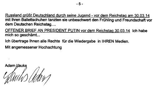 Russland grüßt Deutschland durch seine Jugend - vor dem Reichstag am 30.3.2014
