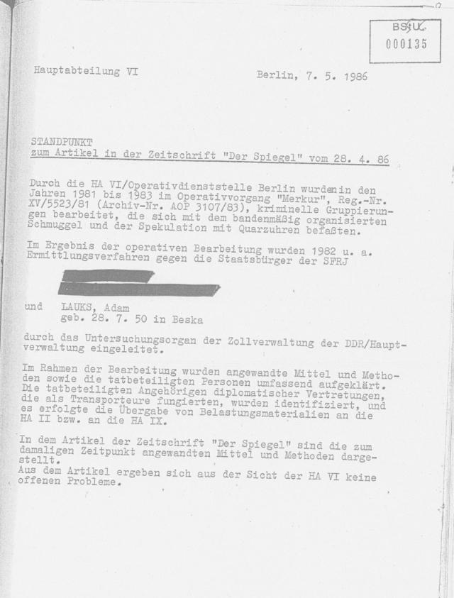 STANDPUNKT der HA VI zum Artikel im SPIEGEL vom 28.4.86