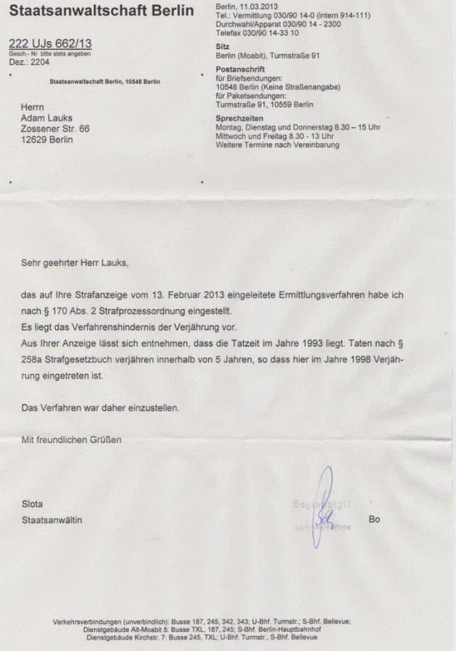 Das Ermittlungsverfahten gegen Joachim Gauck 222 UJs 662/13