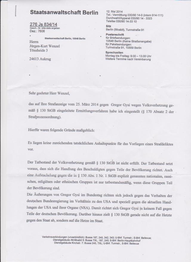 Staatsanwaltschaft Berlin - Einstellung de Ermittlungsverfahrens...