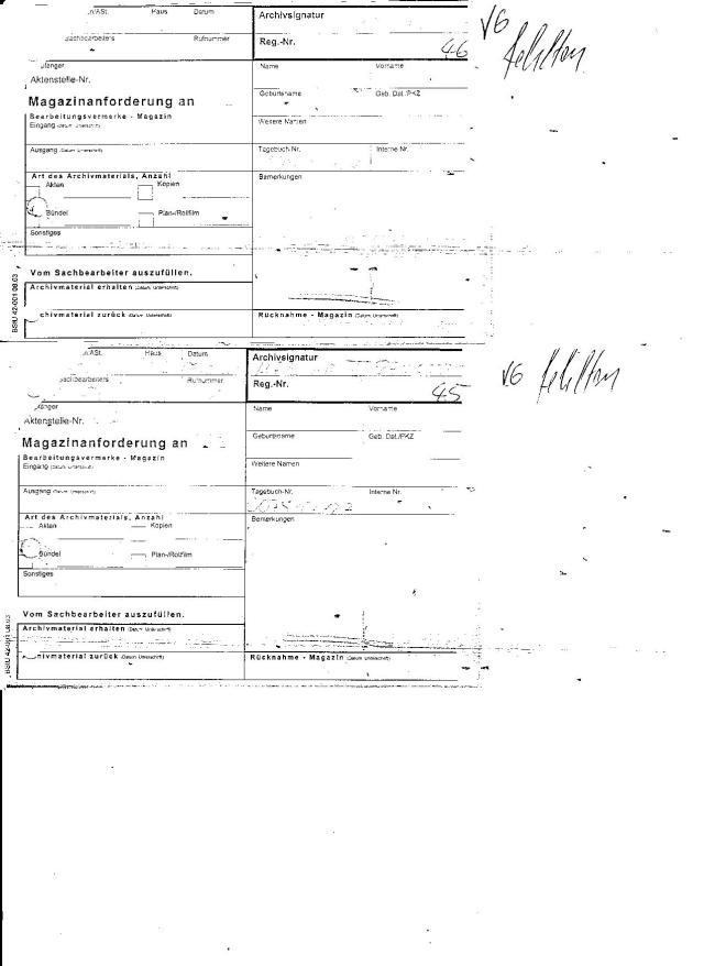 Zwei Durchschriften der Magazinanfordwerung an AR3 (Auskunft des MfS) oder ZMA für die Akte mit der Archivsignatur: MfS HA VII/8 ZMA 225 die zusammengeheftet per Bestellungsvermerk Magazin am 11.4.12 an die Sachbearbeiter zurück geschickt wurden.