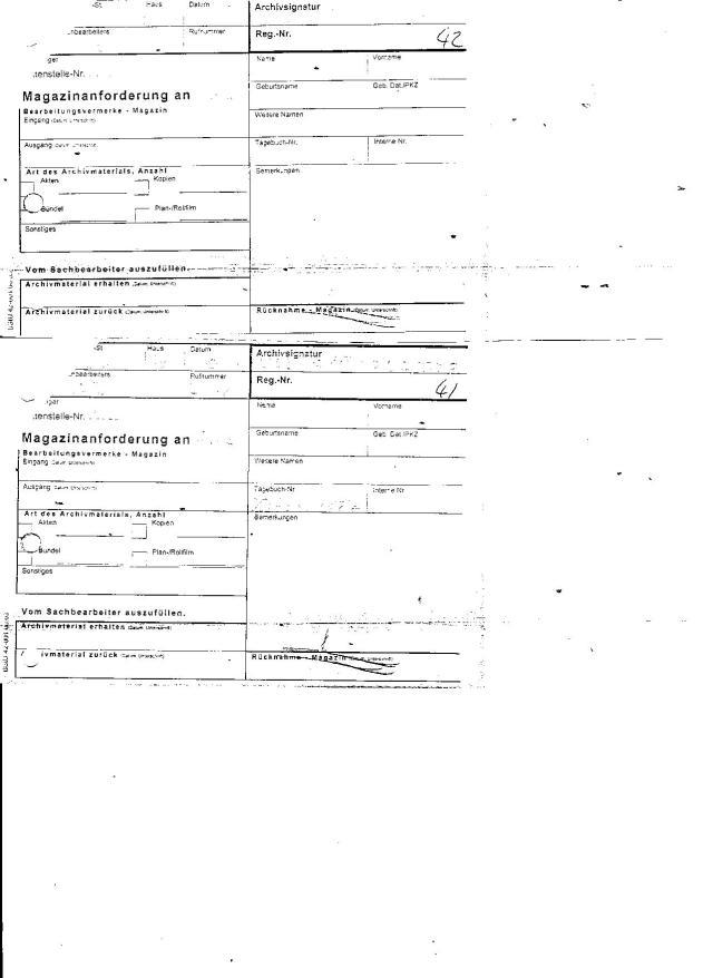 Unterdrückten Seiten 41&42 sind die durchschriften der Magazinanforderung an AR3 vom 3.4.2012 füe die Akte: MfS HA VII/8 ZMA 2228 die per Formular Bestellungsvermerk Magazin am 11.4.12 vermutl. zurückgeschickt wurde !?