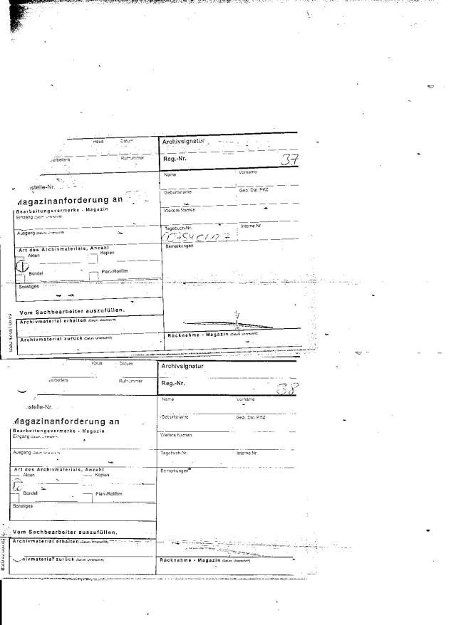 zwei Durchschriften der Magazinanforderung an die AR3 für die Akte: MfS HA VII/8 ZMA 2440 (s.36)