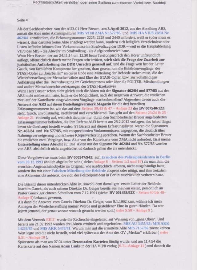 Stellungnahme des Folteropfer der STAZIS- Adam Lauks