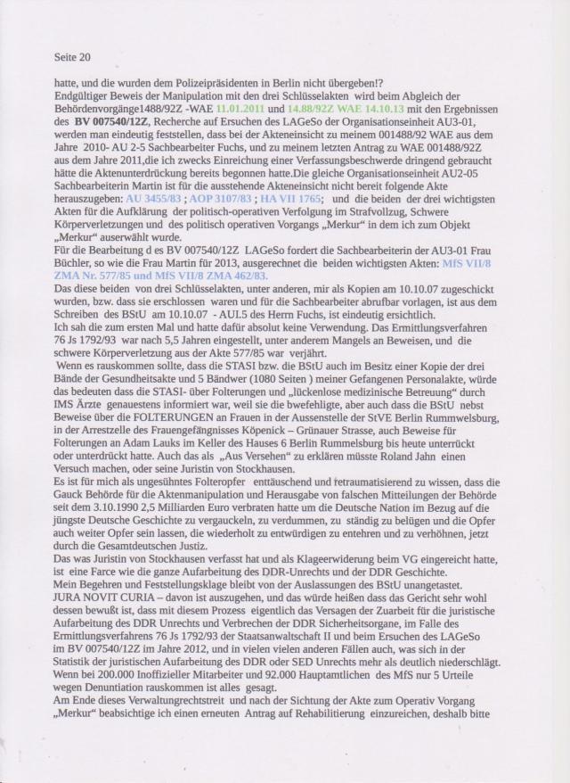 Stellungnahme des ungesühnten Folteropfers Adam Lauks auf die Klageerwiderung des BStU S.20