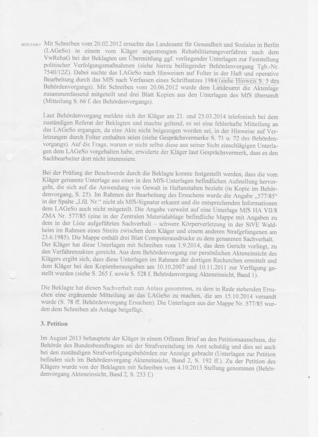 Klageerwiderung - Klageebweisungsantrag des BStU von Roland Jahn
