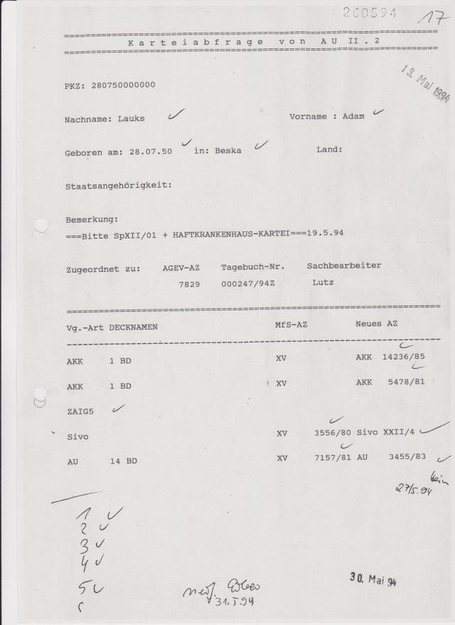 Bitte SpXII/01 + HAFTKRANKENHAUSKARTEI 19.5.94