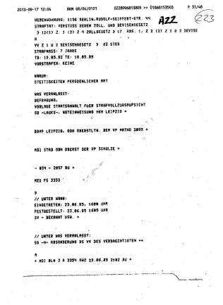 Was veranlasst: Befragung Vorlage Staatsanwalt fürStrafvollzugsaufsicht SG( Strafgefangener ) Lauks Noteinweisung HKH Leipzig