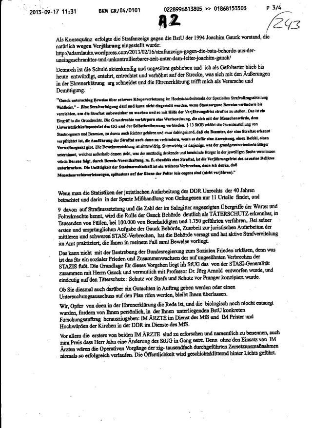 BKM Fax an den BStU: Eine Stellungnahme wird gebraucht um Petition des Bundestagspräsidenten und des Ausschusses für Menschenrechte abzuschmettern