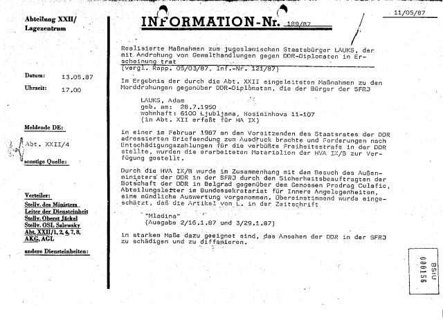 Information Nr 189/87 Man setzte sich zusammen den Erfolg in Worte zusammenzufassen Rapport vom 05/03/87 - im Anschluss.