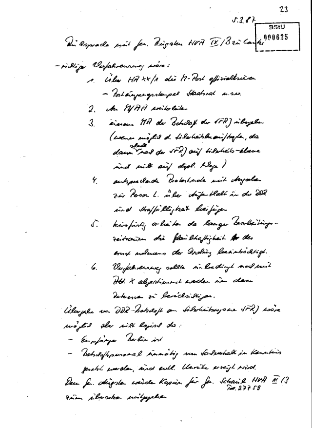 Rücksprache des Grossmann besten Mannes Gen Augustin die HVA IX/b