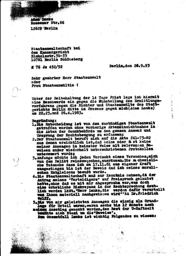 Beschwerde an die Staatsanwaltschaft beim Kammergericht Berlin