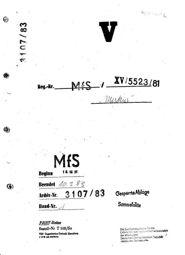 """Über 5.500 Seiten umfasst die Akte  des Operativ Vorganges """"Merkur"""" die in der Gauck Behörde lagert und auf wissenschaftliche Aufarbeitung und schonungslose Aufklärung wartet und schon deswegen  als Forschungsprojekt freigegeben wurde weil darin die Absicht und die Rede von Liquidierung von angeblichen Bandenmitgliedern geht...nicht um die Verhinderung der Wirtschaftssubversion die seit Mitte Juli 1979 lief."""