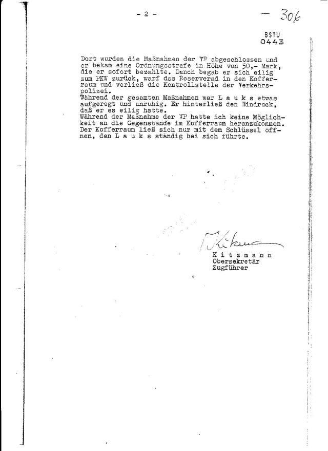 """Die """"Verkehrskontrolle """" wurde vom Kitzmann vermutlich auf Weisung von Oben aus dem Beobachtungsprottokoll ausgeklammert. Nanu?!?"""