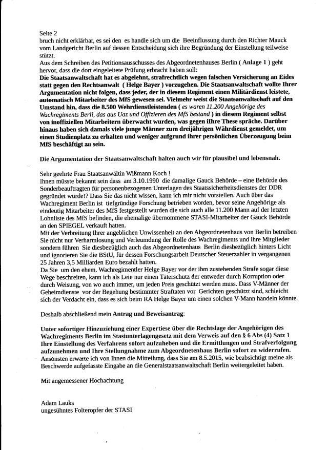 StAin hat das StUG ignoriert.. um  einen aus dem Mielkes Wachregiment, CDU RA zu schützen !?? Verhinderung der Strafverfolgung im Amt !??