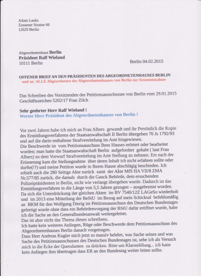 Ich habe fertig mit Abgeordnetenhaus von Berlin... wurde  Frau Albers abgesägt, weil sie  sich bei der Staatsanwaltschaft um Klärung bemüht hatte !??