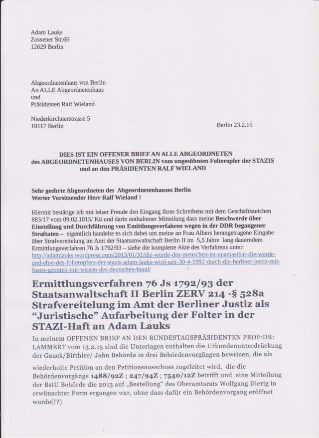 DIESW IST EIN OFFENER BRIEF AN ALLE ABGEORDNETEN des ABGEORDNETENHAUSES BERLIN und an den ÜRÄSIDENTEN Ralf Wieland