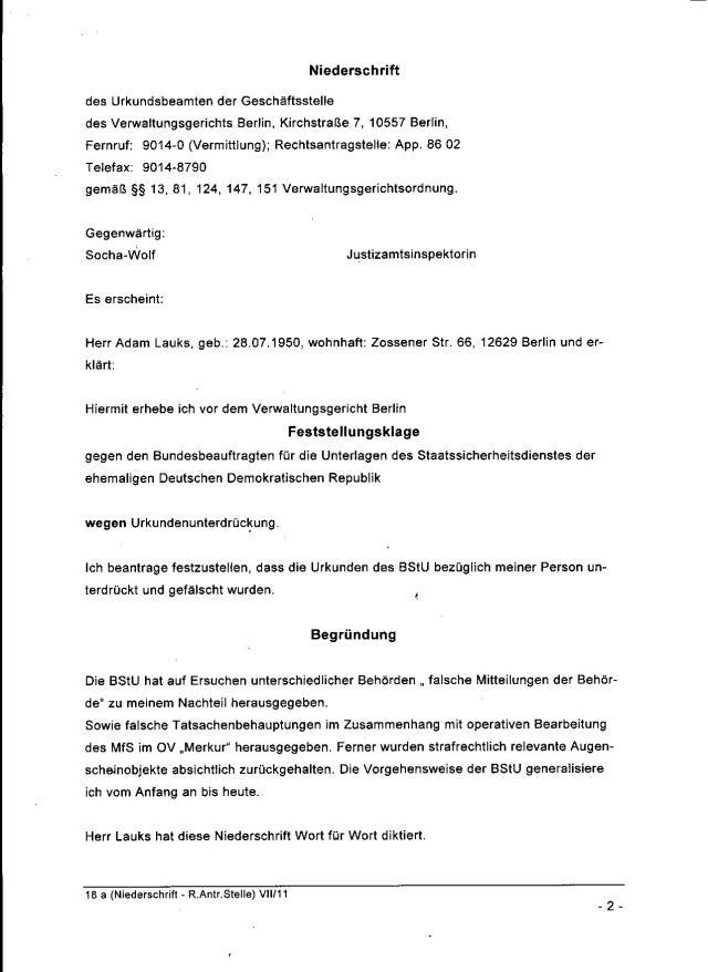 In Verwaltungsstreitsache: Adam Lauks ./. Bundesrepublik Deutschland Aktenzeichen: VG 1K 237.14