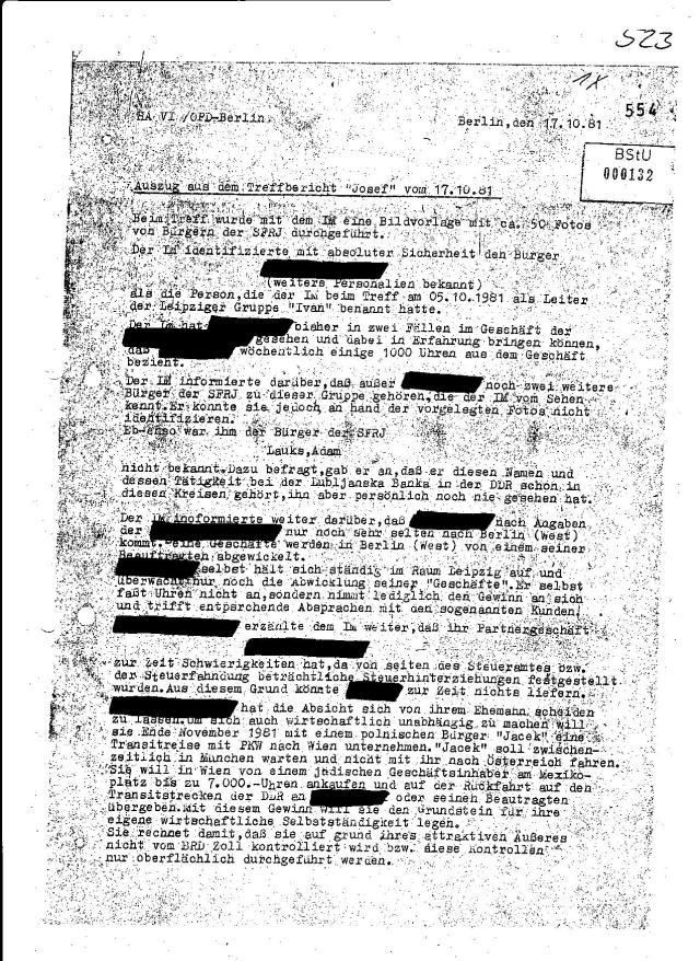 """Treffbericht """"Josef"""" 17.10.1981"""
