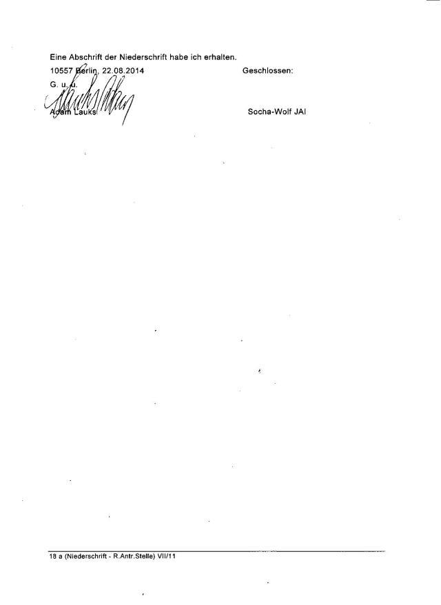 Feststellungsklage: Adam Lauks ./. BStU im Behördenvorgang 007540 auf das Ersuchen des Landesamtes für Gesundheit und Soziales-BStU vom 22.02.2012