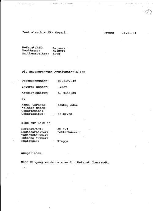 Zentral archiv ( AUSKUNFT DES MFS) Abteilung AR3 an AU:II.2