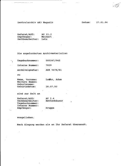 AR3 - AUSKUNFT DES MFS oder Zentralarchiv AR3 Magazin leistet keine Unterschriften- keine Namen der MA (Mitarbeiter) STASI arbeitet weiter -konspirativ nun für DM