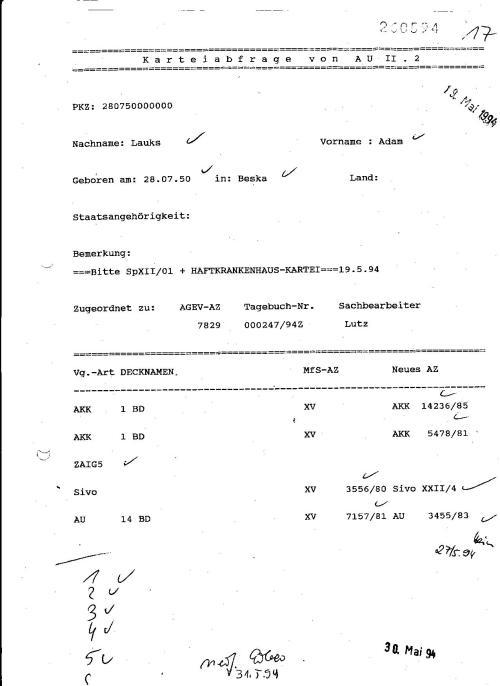 Bitte SpXII/01 + HAFTKRANKENHAUS-KARTEI 19.5.94