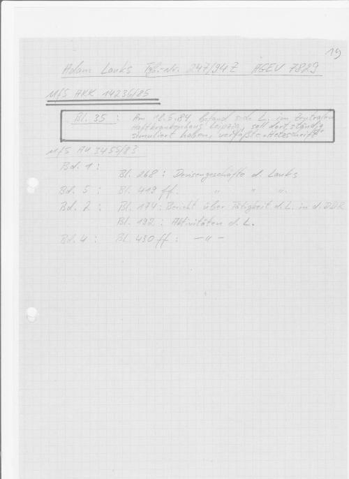 Rekapitulation  zum Behördenvorgang 000247/94Z AGEV 7829