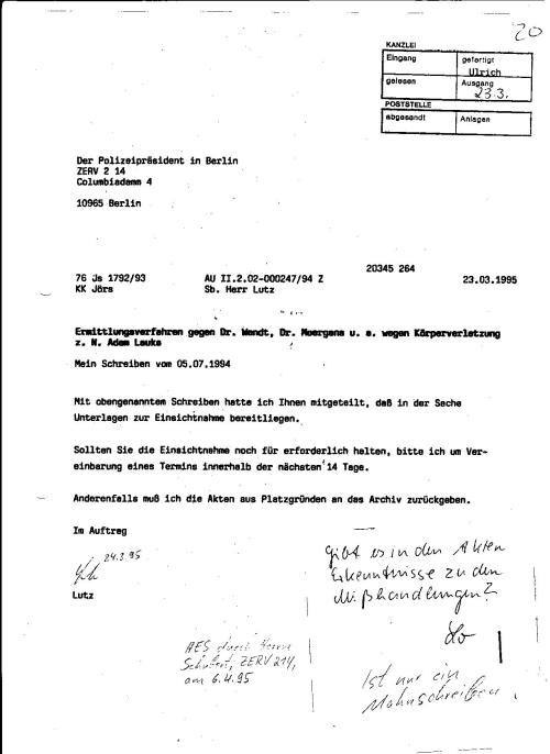 Sachbearbeiter Lutz setzt dem  KK Jörs eine Frist von  14 Tagen, sollte er eine Akteneinsichtnahme für erfordetlich halten. Warum sollte er!?? Mit der Mitteilung der aufgezwungenen Mitteilung der Behörde- am Ersuchen vorbei - war alles erledigt.