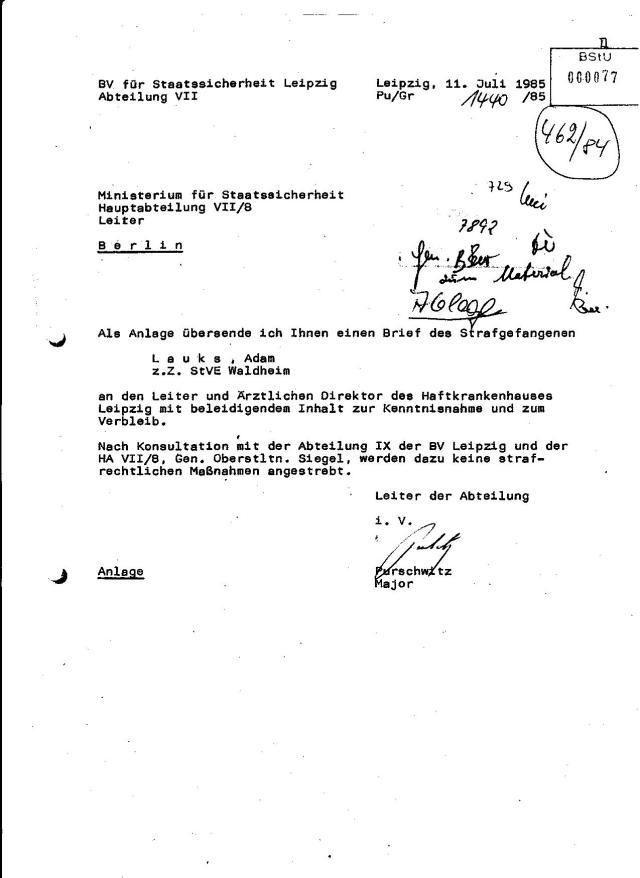 BV ( Bezirksverwaltung) für Staatssicherheit Leipzig Abteilung VII Hauptabteilung VII/8 war zuständig für die Abwehr - also fühlte man sich diurch einen Sterbenden bedroht. Mein Hungerstreik stand und ging dem Ende entgegen wo nur der Tod stehen kann. Ich habe das gewusst.