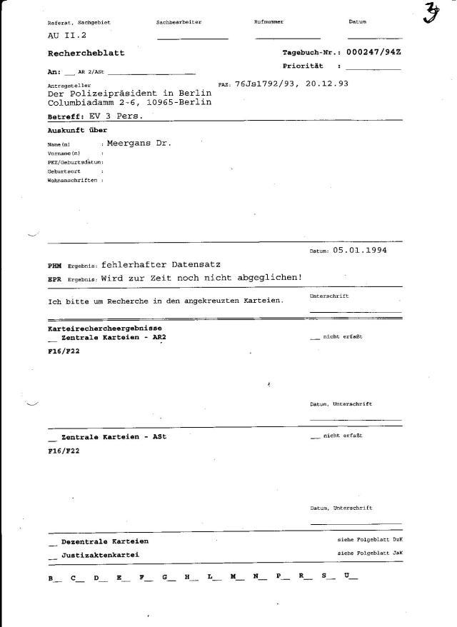 Die Abteilung AR2 -Zentrale Karteien suchen nicht nach Karteikarte von Adam Lauks !? was ihre erste Aufgabe gewesen wäre.