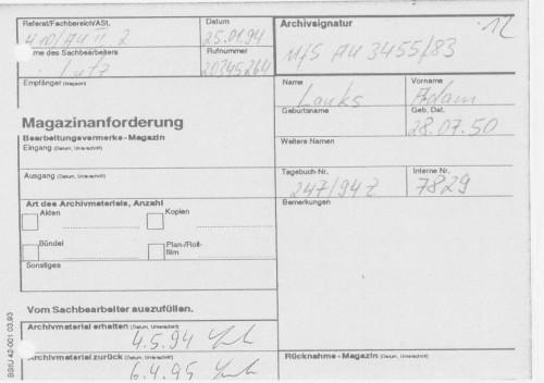 Sachbearbeiter Lutz  hatte Aufträge an die AR3 Recherche für alle drei Akte  am 25.1.1994 abgegeben. Die drei Aktenmappen hatte er am 4.5.94 erhalten  und am 6.4.95 erst zurückgegeben in das Archiv AR3. Er hat praktisch 11 Monate die Akten bei sich auf dem Tisch  zu liegen gehabt !??