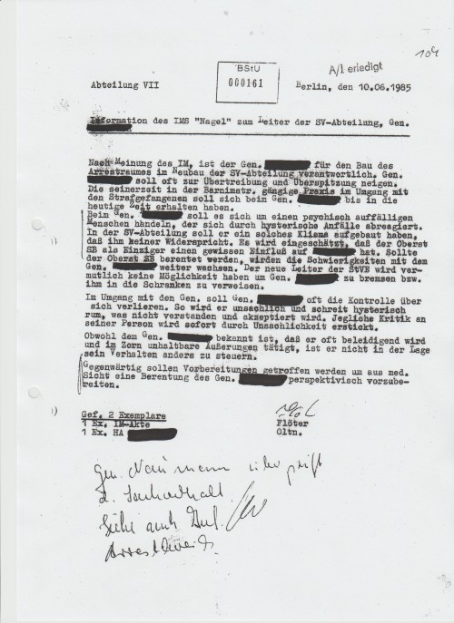 BStU unterstützt die Geschichtsklitterung: Inm Strafvollzug Berlin Rummelsburg wurden SG - Männer und Frauen gefoltert!
