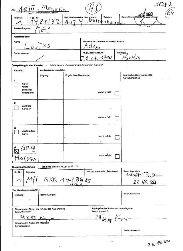 Erste aufgefundene MfS Akte MfS AKK 14236/85 38 Seiten