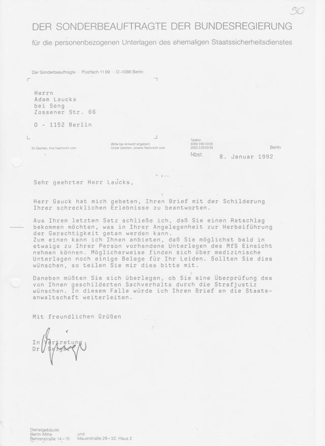 Direktor Dr. Geiger antwortete persönlich im Auftrag des Herrn Gauck