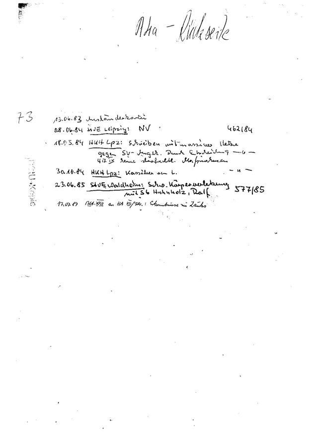 Brisanz der Innhalte ist auch für Leien erkennbar:23.06.85 StVE Waldheim: Schwere Körperverletzung 577/85