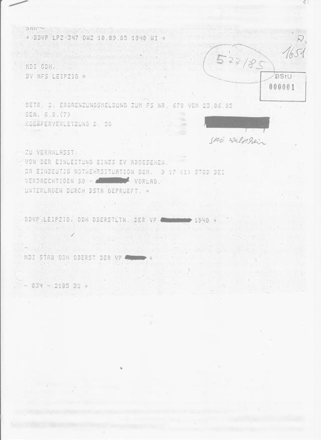 Kein Kommentar. Ein Vernehmungsprotokoll der Kriminalpolizei die im Kuckucksnest ermittelt hat, habe ich als Beweis für diese Lügen die der BStU durch den StUG geschützt hatte - seinem Namen und zweck entsprechend : Gesetz zum Schutz der STASIS an dessen Entwurf Bundespräsident Gauck maßgeblich beteiligt war. Gecoacht von STASI-Anwälten? IMS