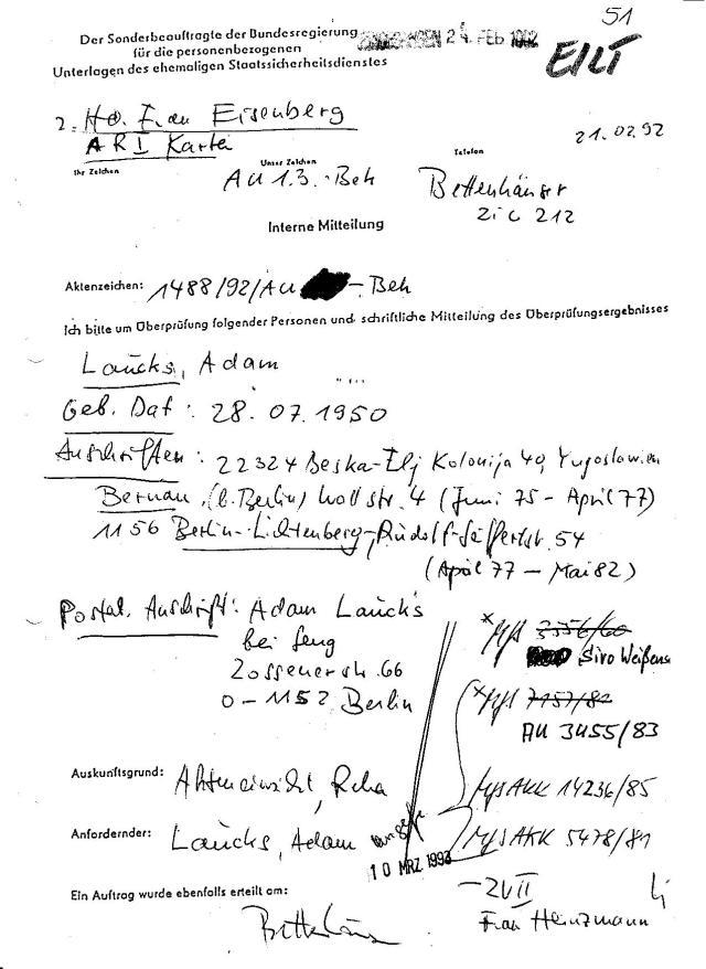 BStU BV 001488/92Z Seite Nr. 51 : EILT 21.02.92 Referat AU 1.3. Bet. 10 März 1993