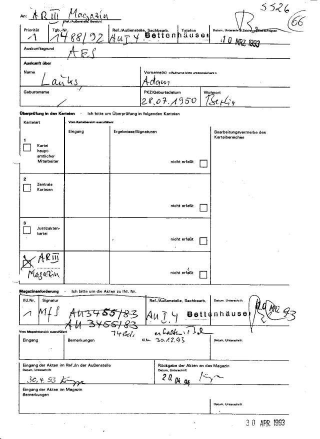 Am 10.März 93 angefordert erhielt Bettenhäuser q4 Bd von MfS AU 3455/83 am 30.12.93 und wurde an AR III ZMA am 20.04.94 zurückgegeben. (?)