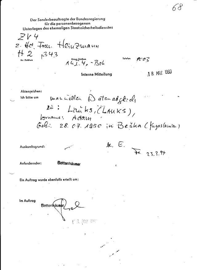 ZV4 zu Hd.Frau Heinzmann H 2 ,343 Interne Mitteilung Ich bitte um manuellen Datenabgleich 18.März 1993