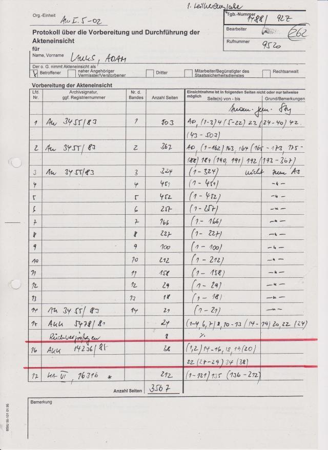 Es gab keine weitere - wiederholte Akteneinsicht; mab schickte mit die Akte einfach zu - erstmalig die 5 Blätter des Aktensegments Nr. 577/85