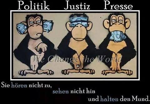 Die Drei Affen der STAZIS sitzen vor dem Bundestag,vor der Gauck Behörde und vor dem Justizministerium und schweigen, sehen nichts und hören nichts seit 25 Jahren...die vor der Gauck Behörde haben schon 2,5 Mrd € ins Maul gestopft bekommen, wie es bei den anderen zwei aussieht ... werden wir NIE erfahren.