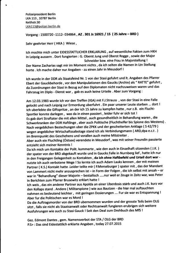 Eidesstattliche Versicherung eines Zeitzeugen und Mitgefangenen über den Bereich des Dr.Mengeles Jünger, IMS
