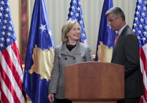 13 Oct 2010, PRISTINA, KOSOVO, Serbia and Montenegro --- epa02391346 US Secretary of State Hillary Clinton (L) and Kosovo's Prime Minister Hashim Thaci (R) during their joint press conference in Pristina, Kosovo, on 13 October 2010. Media reports state that Clinton began her Balkan tour in Sarajevo seeking to underpin fragile peace in the region that was one of her husband's chief foreign policy achievements as president.  EPA/VALDRIN XHEMAJ --- Image by © VALDRIN XHEMAJ/epa/Corbis