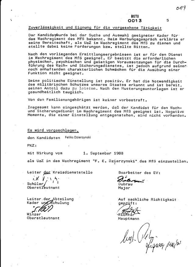 """Der Kandidat wurde bei der Suche und Auswahl geeigneter Kader für das Wachregiment des MfS bekannt..... und als UaZ un das Wachregiment """"F.E.Dzierzynski"""" des MfS  einzustellen"""
