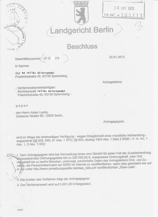 Beschluss des Landgerichtes Berlin vom 22-01.2013 auf Antrag des RA... ehemaligen Mitarbeiter des MfS aus Spremberg - CDU Mitglied
